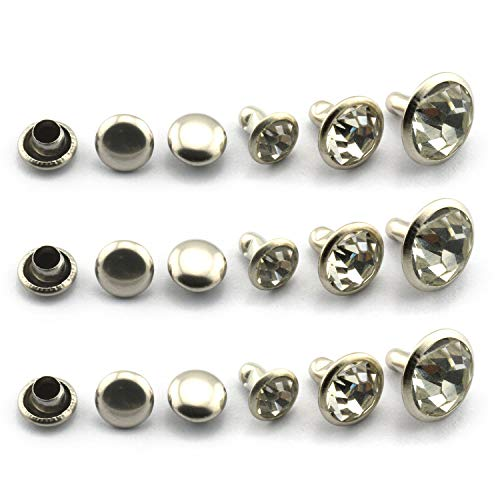 - LQ Industrial 90 Sets 6/8/10mm White Crystal Silver Rapid Rivets Assortment Leather Craft DIY Fashion Rhinestone Nailhead Studs Punk Spikes Decorative Rivets