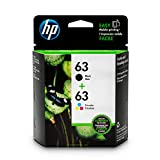 HP 63 Black & Tri-Color Original Ink Cartridges, 2 Pack For HP DeskJet 1112, 2130, 2132, 3630, 3631, 3632, 3633, 3634, 3636, 3637, HP ENVY 4511, 4512, 4516, 4520, 4521, 4522, 4524, HP OfficeJet 3830, 3831, 3832, 3833, 4650, 4652, 4654, 4655 - L0R46AN#140, Black/Tri-Colour