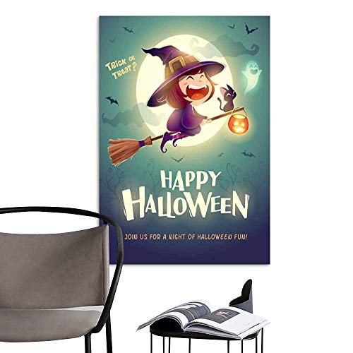 Art PaintingsHome DecorationsHappy Halloween Halloween flying little witch Girl kid in Halloween costume flying over the moon Retro vintage .jpg Living Room Bedroom Bathroom Modern Artwork -