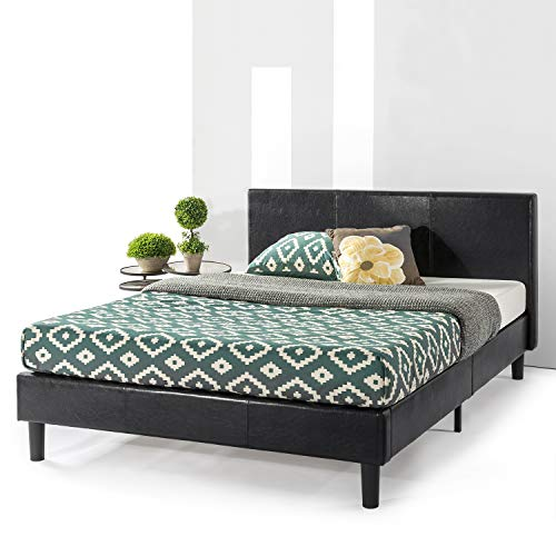 Best Price Mattress Agra Upholstered Faux Leather with with Headboard and Wooden Slats Platform Beds (No (No Box Spring Needed), King, Black