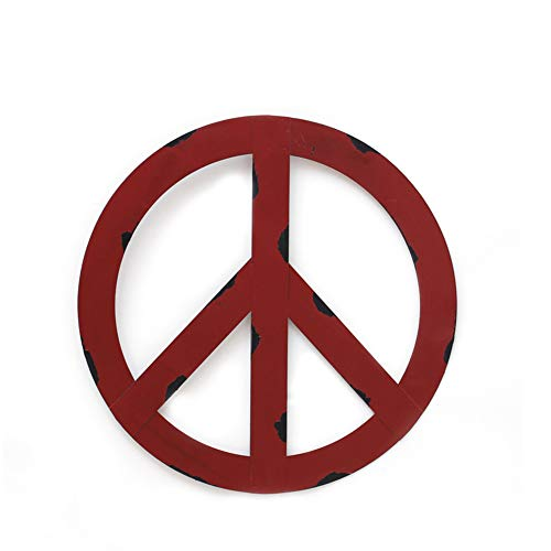 YK Decor Metal Treasured Red Peace Sign Wall Hanging Ornament Home Door Decor Decorative Signs ()