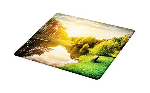 Lunarable Landscape Cutting Board, Sunset Over Calm River Grass Willow Trees Grass Rocks Reflection Clouds, Decorative Tempered Glass Cutting and Serving Board, Small Size, Green Blue White