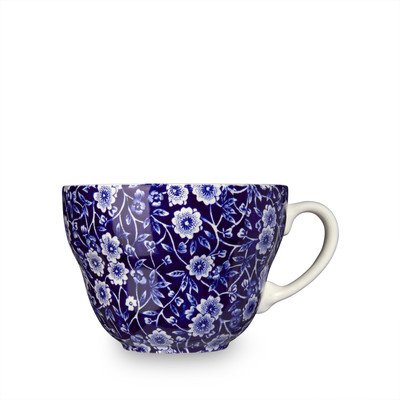 Burleigh Dark Blue Calico Breakfast Cup And Saucer 0.35 Litre