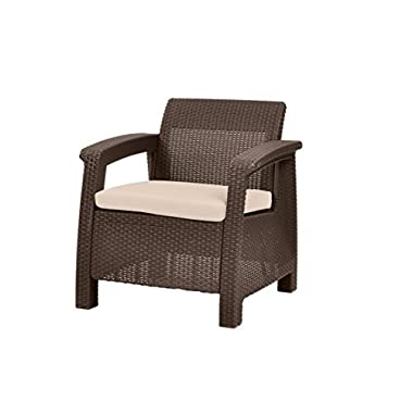 Keter Corfu Armchair All Weather Outdoor Patio Garden Furniture with Cushions, Brown