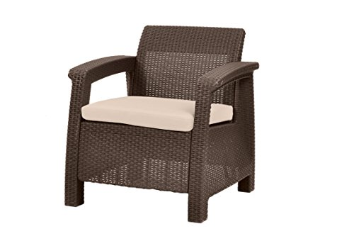 Keter Chair for Outdoor Seating with Washable Cushion - Perfect for Balcony, Deck, and Poolside Furniture Sets, 31 x 27, Brown - Make sure this fits                by entering your model number. Dimensions: 29. 5 in. W x 27. 6 in. D x 31. 1 in. H Contemporary design and ergonomically comfortable patio armchair - patio-furniture, patio-chairs, patio - 41VKj0wInKL -