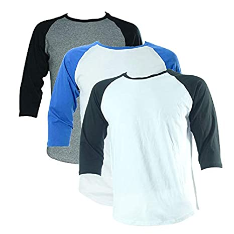 YAA Clothing 3 Pack Mens Unisex Raglan 3/4 Long Sleeves T-Shirt - Now in 5 Colours!