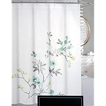 Cynthia Rowley Shabby Chic Fabric Shower Curtain Aqua Teal Blue Citrine Floral Branches on White Eleanor 72-inch By 72-inch