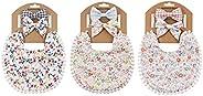 Baby Floral Double Sided Boho Tassel Bibs (Pack of 3) & Baby Headb
