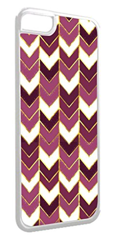Purple Gilded Print Chevrons- TM Apple iPhone 5, 5s Universal Dual Protective White Plastic with Inner Tough Soft Black Rubber Lining Phone Case Made in the USA