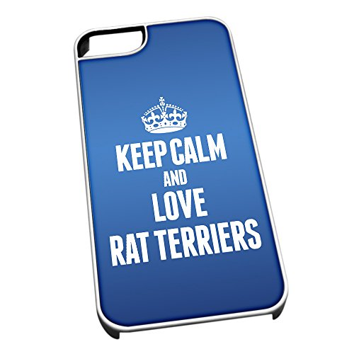 Bianco cover per iPhone 5/5S, blu 2059Keep Calm and Love Rat Terriers