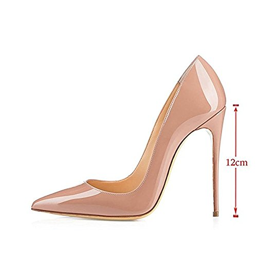 Wedding MIUINCY for Shoes Patent Pumps Stiletto Party Heels Women High Nude Dress Toe Leather Closed Pointed r6P8rqnvfF