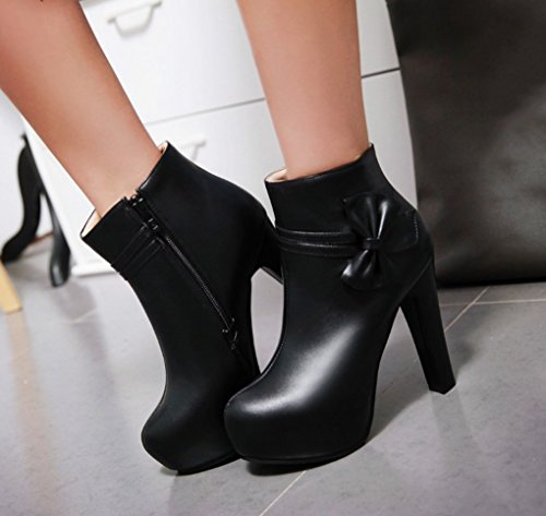 con al resistente Bowknot de e agua otoño de alto XZ botas de lateral moda Botas cremallera tacón con Zapato Negro invierno wvqB87z