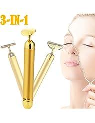3-in-1 Beauty Bar 24k Golden Pulse Facial Massager,...
