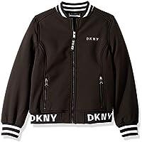 DKNY Girls' Big Fashion Softshell Bomber Jacket with Logo Trim