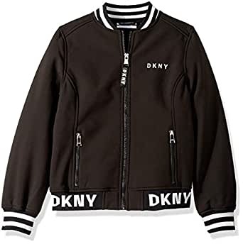DKNY Girls' Big Fashion Softshell Bomber Jacket with Logo Trim, Black, 7/8