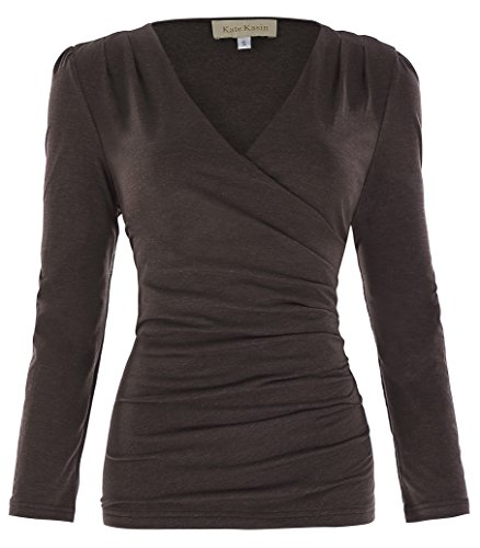 Women's Stretchy V-Neck Pullover Tops Pleated T-Shirts (S,Coffee)