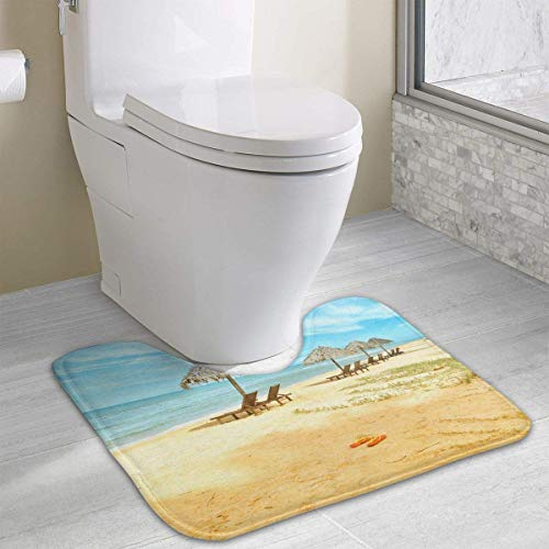 Beach Contour Bath Rugs,U-Shaped Bath Mats,Soft Memory Foam Bathroom Carpet,Nonslip Toilet Floor Mat 19.2″x15.7″