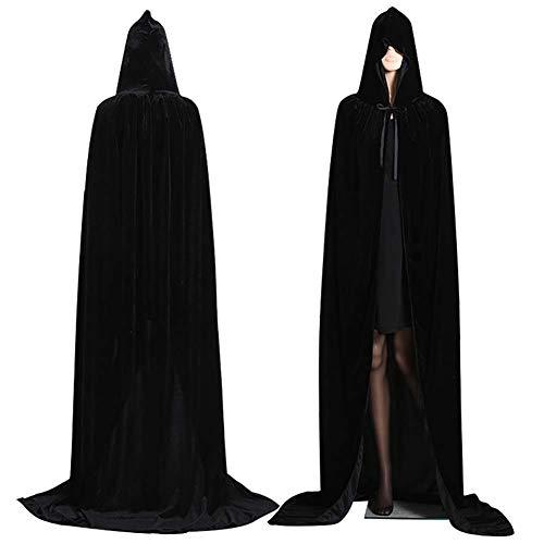 Vampire Capes For Women (TRAINER SECRET Halloween Unisex Long Velvet Hooded Cloak Cape Deluxe Vampire Fancy Dress Wedding)