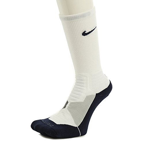 Nike Mens Hyper Elite Cushioned Crew Socks White/ Midnight Navy