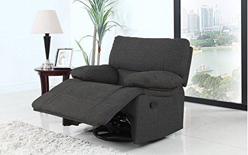 Classic and Traditional Dark Grey Fabric Oversize Rocker Swivel Recliner Chair (1 (Overstuffed Chair)