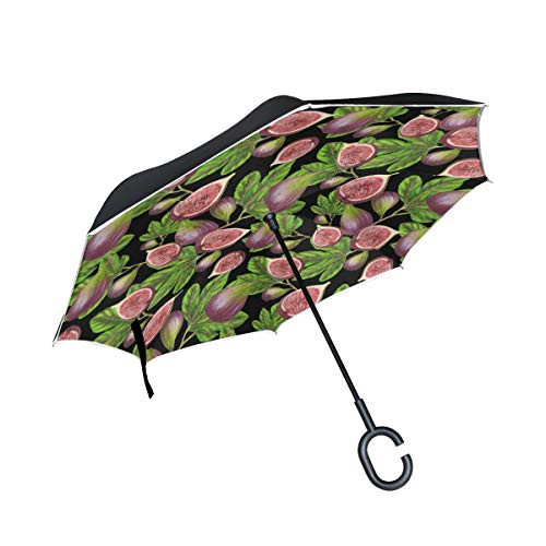 DOPKEEP Fig Pattern Double Layer Inverted Umbrella Cars Reverse Umbrella,UV Protection Windproof Large Straight Umbrella for Car Rain Outdoor with C-Shaped Handle ()