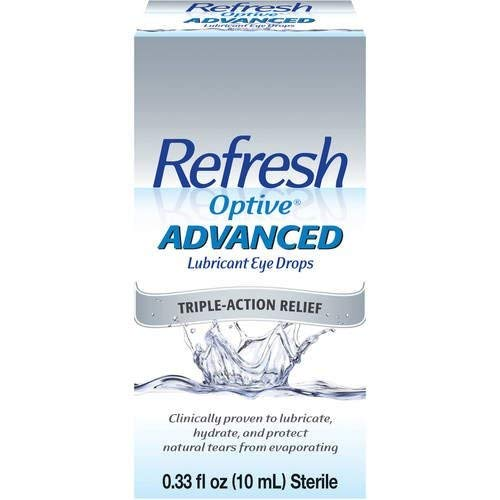 Refresh Optive Advanced Lubricant Eye Drops, 0.33 fl oz (10mL) Sterile, Value-Size (Pack of 2)