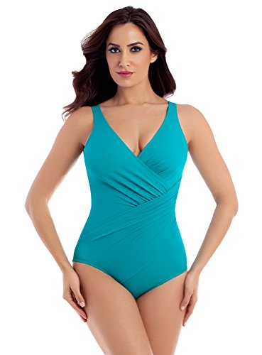 Miraclesuit Women's Swimwear DD-Cup Solid Oceanus Wrap Style One Piece Swimsuit, Amalfi, 12DD