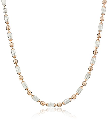 Rose Gold-Plated and Rhodium-Plated Bead-Chain Necklace
