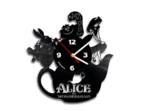 Alice in wonderland vinyl clock, Queen of hearts, Mad hatter
