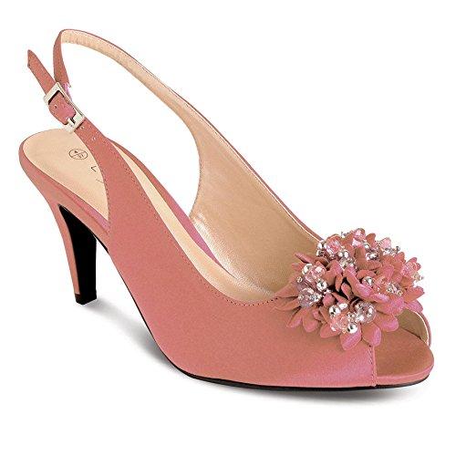 SAPPHIRE Women's Ruffle Effect Diamante Low Heel Ladies Smart Clutch Bag Shoes Set Pink (Shoe) soPkQH