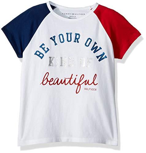 Tommy Hilfiger Big Girls' 85 Hilfiger Tee, Beautiful White, Medium 8/10