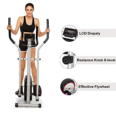 Elliptical Trainer Machine with LCD Monitor Magnetic Control Mute Home Gym Fitness Workout Machine[US Stock]