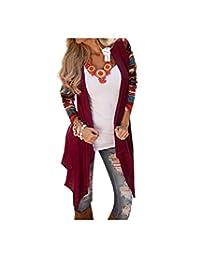 Qissy®Women Comfortable Cardigan Coat Stripe Cotton Shawl Irregular Style