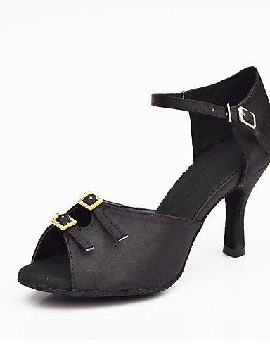 ShangYi Chaussures de danse(Noir) -Non Personnalisables-Talon Bobine-Satin-Salsa Black
