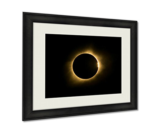 Eclipse Path Light (Ashley Framed Prints, Total Solar Eclipse With Bailey Beads And Prominence, Wall Art Decor Giclee Photo Print In Black Wood Frame, Ready to hang, 20x25 Art, AG6464620)