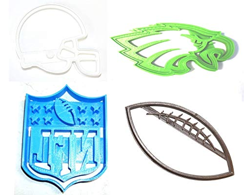 PHILADELPHIA EAGLES NFL FOOTBALL LOGO HELMET SET OF 4 SPECIAL OCCASION COOKIE CUTTERS BAKING TOOL 3D PRINTED MADE IN USA PR1134