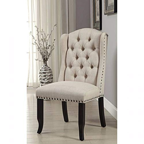 Benjara BM131237 Upholstered Side Chair with Wing Back Design, Set of Two, Black and Ivory