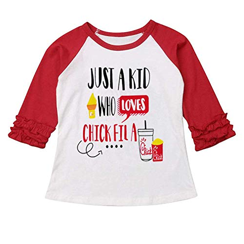 Christmas Thanksgiving Toddler Kids Baby Girls Unicorn Turkey T-Shirt Long Sleeve Top Lace Sleeve Clothes Set (Red & Love, 6-12 ()