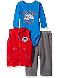 Baby Boys' 3 Piece Microfleece Vest and Pant Set With Side Snap Bodysuit