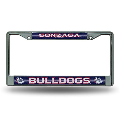 NCAA Gonzaga Bulldogs Bling Chrome License Plate Frame with Glitter Accent ()