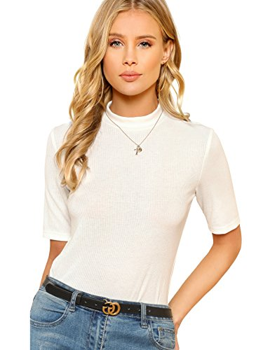 SheIn Women's Mock Neck Half Sleeve Slim Fit Ribbed Knit Tee T-Shirts White Medium