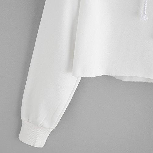 Cappuccio Camicetta Ragazza Lunga Felpe Top Elegante Vicgrey Donna T Con Felpa Occhio Pullover Manica Autunno Bianco Stampato Tumblr Camicia shirt rwqEE0n6A