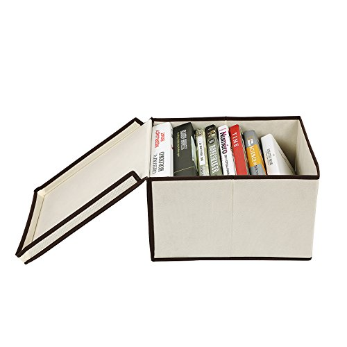 SONGMICS Set of 3 Large Storage Container with Lids Foldable Storage Box with Lids Beige URLB40M by SONGMICS (Image #8)