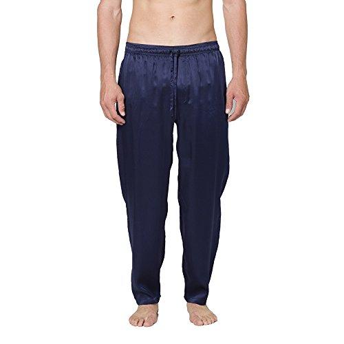 (INTIMO Men's Classic Silk Pant, Navy, Large)