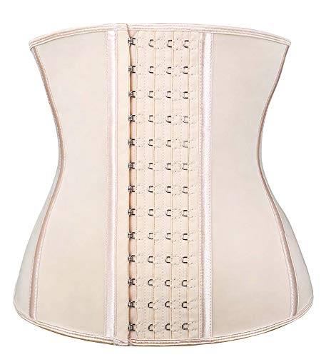 SHAPERX Women's Latex Waist Trainer Corset for Weight Loss - Postpartum abdome Sports Girdle Shapewear, (Beige, 2X-Large)
