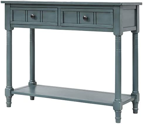 Wood Console Sofa Table with Drawer and Bottom Shelf, WeYoung Daisy Series Entryway Table for Living Room Navy