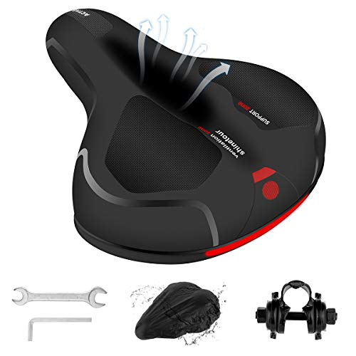 Bike Seat for Men and Women, Comfortable Bicycle Seat Replacement Soft Memory Foam with Dual Shock Absorbing Rubber Ball Universal Wide Bicycle Saddle, with Mounting Tools,Reflective Strap,Storage Bag