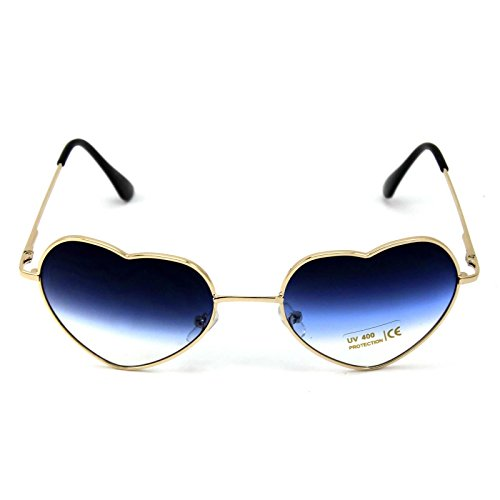 AMAZZANG-Stylish Metal Frame Sunglasses Women Love Heart Shape Lens Eyewear Eyeglasses - Mcqueen Blue Steve Eyes