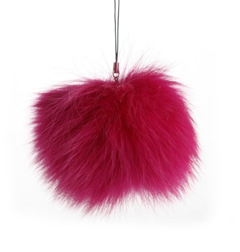"""Fox Pompon Fuzzies Fox Fur Ball Use for Mobile Strap Coppia Keychain (4"""", Rose Red)"""