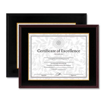 Hardwood Document/Certificate Frame w/Mat, 11 x 14, 8 1/2 x 11, Black (10 Pack)